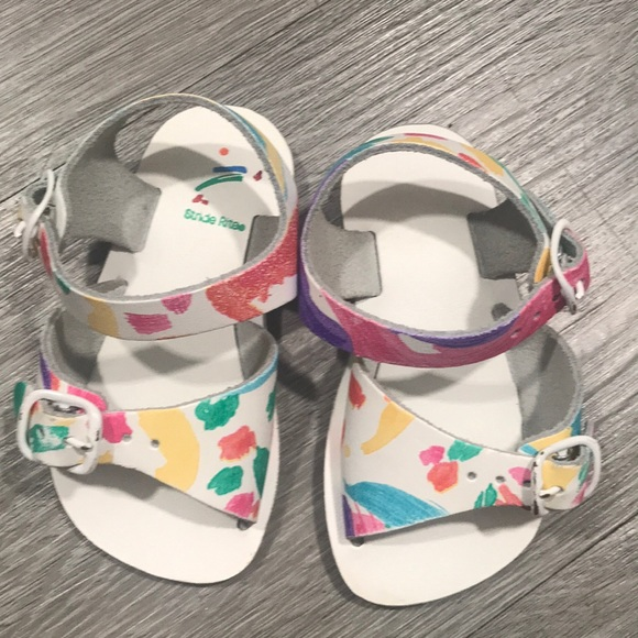 Stride Rite White Leather Adjustable Sandals